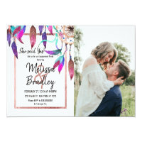 Boho Watercolor Dreamcatcher Rose Gold Engagement Invitation