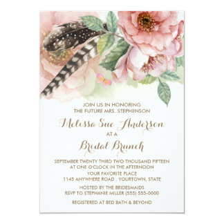 Boho Watercolor Feathers and Flowers Bridal Shower 5x7 Paper Invitation Card