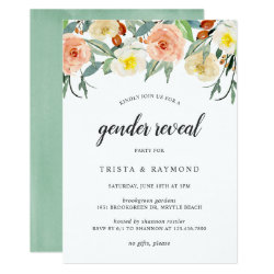 Boho Watercolor Floral Gender Reveal Party Invitation