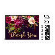 Boho Watercolor Floral Thank You Modern Wedding Postage