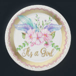 "Boho Watercolor Flower Baby Shower Paper Plates<br><div class=""desc"">Girls boho baby shower paper plates with pretty pastel watercolor flowers on a beautiful pink and gold background. These adorable boho baby shower paper plates are easily customized with text and you can also change the background color.</div>"