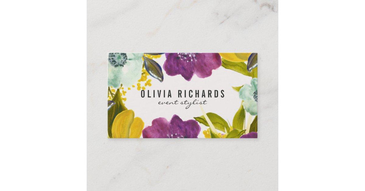 Boho Watercolor Flowers | Floral Business Card | Zazzle.com