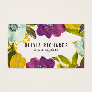 Boho Watercolor Flowers | Floral Business Card