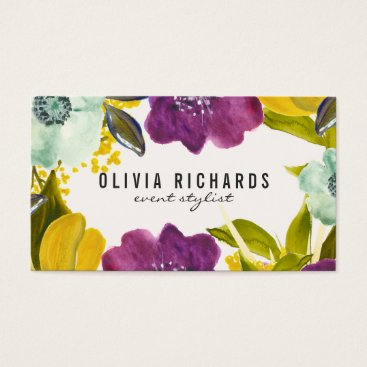 Professional Business Boho Watercolor Flowers | Floral Business Card