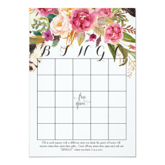 boho watercolor flowers Shower Bingo Cards