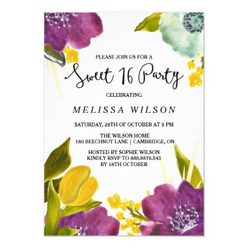 Boho Watercolor Flowers Sweet Sixteen Invitation