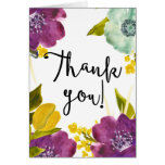 Boho Watercolor Flowers Thank You Card