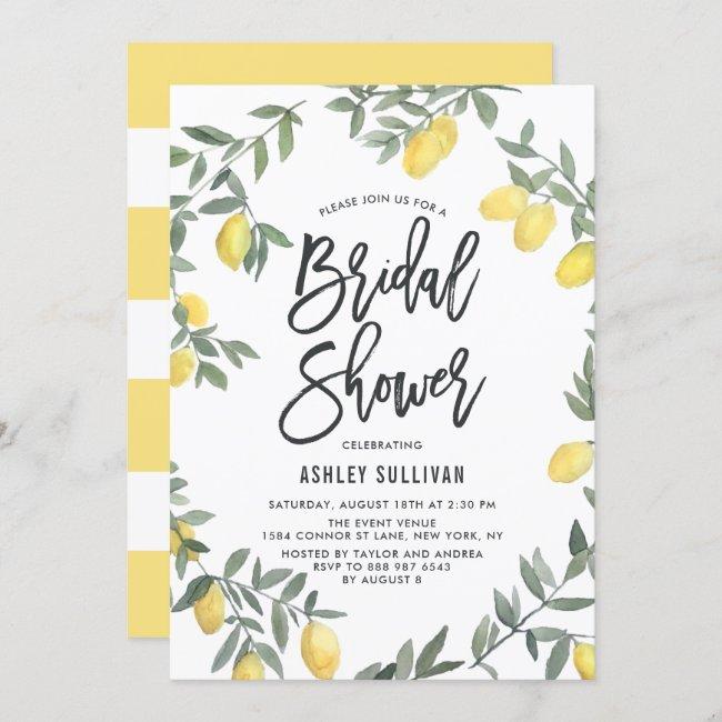 Boho Watercolor Lemon Wreath Bridal Shower Invitation