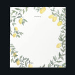 """Boho Watercolor Lemon Wreath Notepad<br><div class=""""desc"""">Whimsical note pad featuring watercolor lemon wreath. This will be a perfect feminine accent for your office.</div>"""