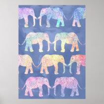 Boho watercolor paisley tribal elephants pattern poster