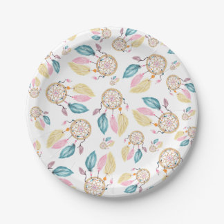 Boho  watercolor pastel dreamcatcher pattern paper plate