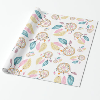 Boho  watercolor pastel dreamcatcher pattern wrapping paper