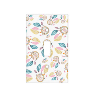 Boho watercolor pastel dreamcatchers pattern light switch cover