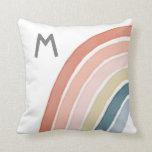 Boho Watercolor Rainbow Monogram Modern Throw Pillow