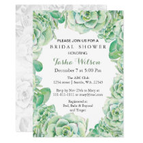 boho watercolor succulent Bridal Shower Invite