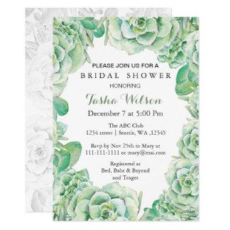 Elegant Boho Watercolor Succulent Bridal Shower Invite