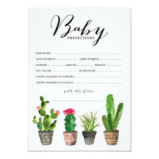 Boho Watercolor Succulents Baby Predictions Card
