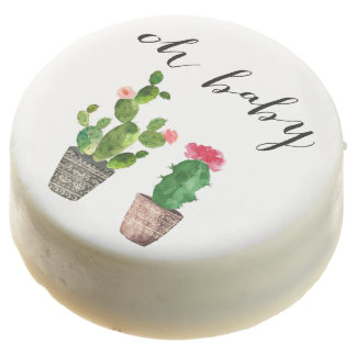 Boho Watercolor Succulents Baby Shower Chocolate Covered Oreo