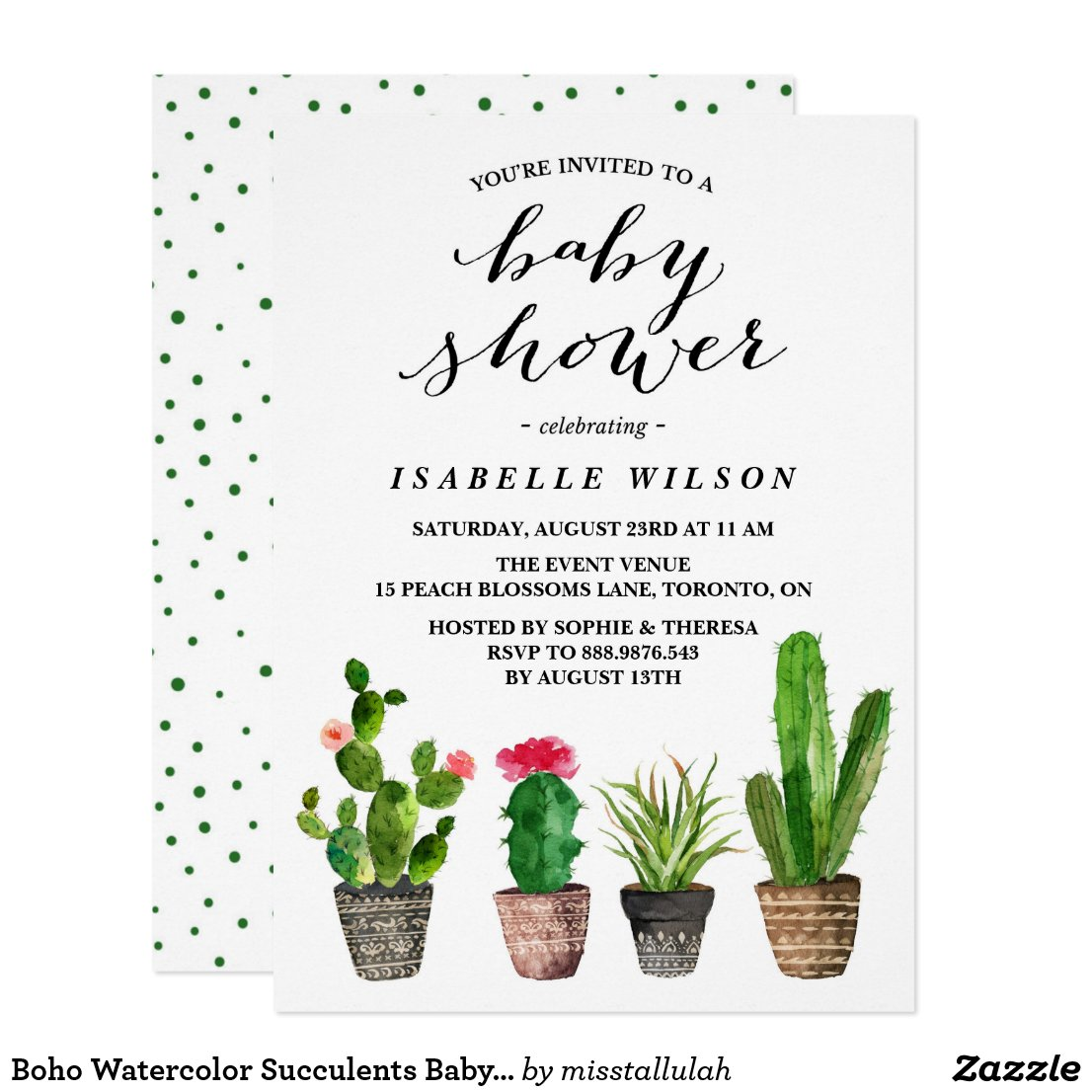 Boho Watercolor Succulents Baby Shower Invitation