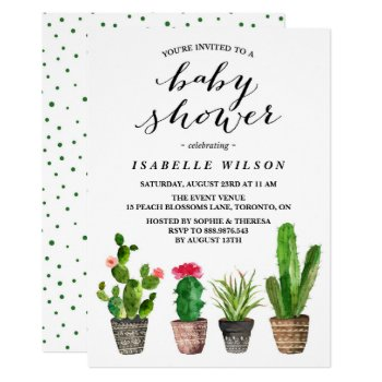 Boho Watercolor Succulents Baby Shower Invitation by misstallulah at Zazzle