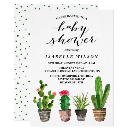 Boho Watercolor Succulents Baby Shower Invitation Zazzle Com