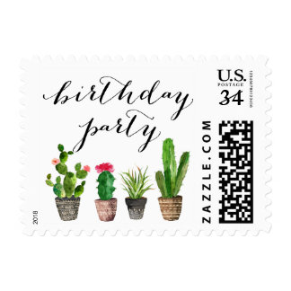 Boho Watercolor Succulents Birthday Party Stamp