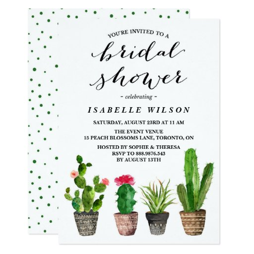 Boho Watercolor Succulents Bridal Shower Card
