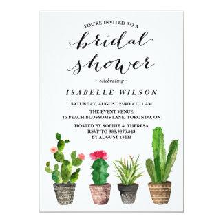 Boho Watercolor Succulents Bridal Shower Card