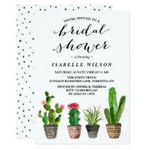 Boho Watercolor Succulents Bridal Shower Invitation