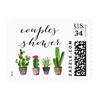 Boho Watercolor Succulents Couples Shower Stamp