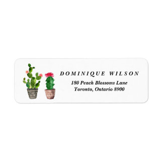 Boho Watercolor Succulents Customizable Return Label