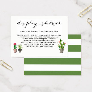 Boho Watercolor Succulents Display Shower Business Card