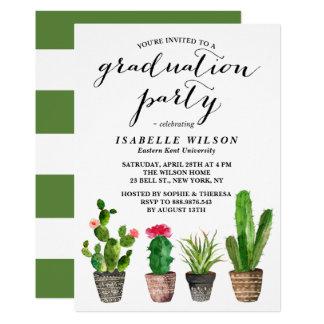 Boho Watercolor Succulents Graduation Party Card