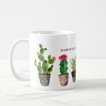 Boho Watercolor Succulents Pattern Personalized Coffee Mug