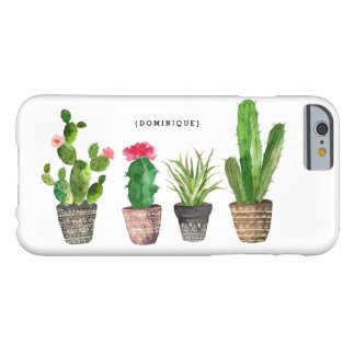Boho Watercolor Succulents Personalized Barely There iPhone 6 Case