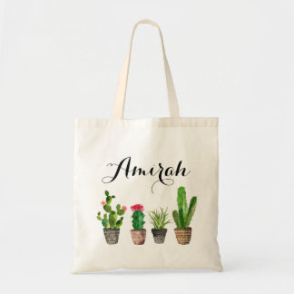 Boho Watercolor Succulents Personalized Canvas Tote Bag