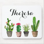 """Boho Watercolor Succulents Personalized Mouse Pad<br><div class=""""desc"""">Whimsical and bohemian mousepad featuring watercolor potted succulents. Personalized by adding your own details. This will be perfect as a gift. This design is available in a variety of products.</div>"""