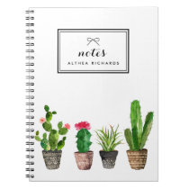 Boho Watercolor Succulents Personalized Notebook