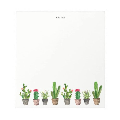 Boho Watercolor Succulents Personalized Notepad