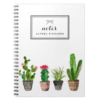 Boho Watercolor Succulents Personalized Spiral Notebook