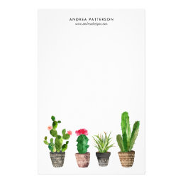 Boho Watercolor Succulents Personalized Stationery