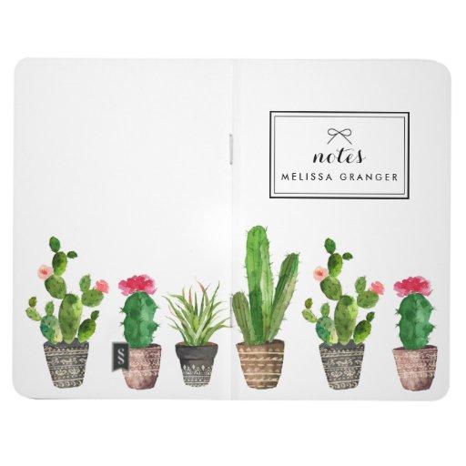 Boho Watercolor Succulents Personalized Stylish Journal