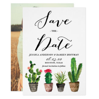 Boho Watercolor Succulents Photo Save the Date Card