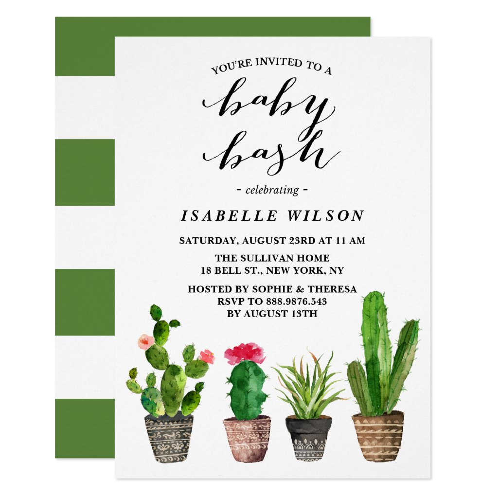 Boho Watercolor Succulents Summer Baby Shower Bash Card