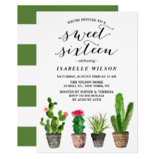 Boho Watercolor Succulents Sweet Sixteen Party Invitation