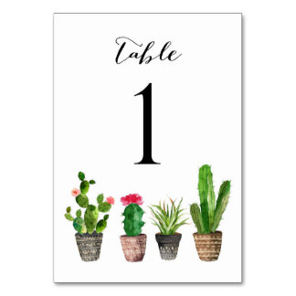 Boho Watercolor Succulents Table Numbers Card 1