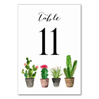 Boho Watercolor Succulents Table Numbers Card 11