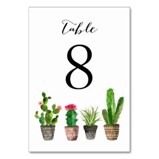 Boho Watercolor Succulents Table Numbers Card 8