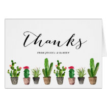 Boho Watercolor Succulents Thank You