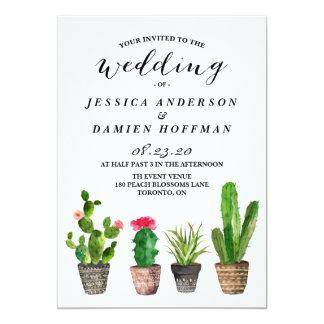 Boho Watercolor Succulents Wedding II Invitation